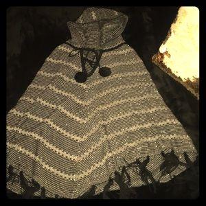 BCBGmaxazaria Black Hooded Poncho Sweater